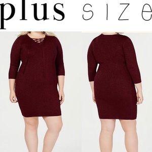 Trendy Plus Size Lace-Up Detail Dress